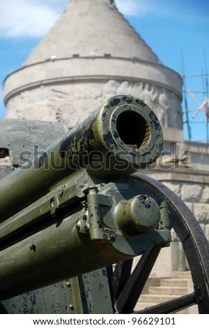 Old cannon at a mausoleum in Romania, eastern Europe. - stock photo
