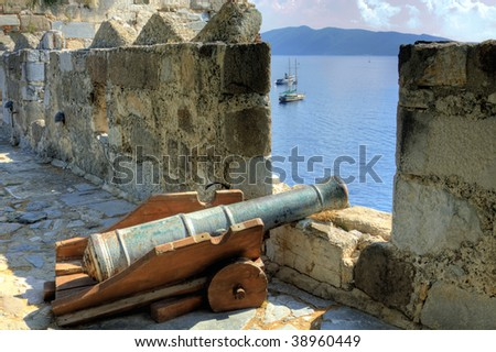 Old cannon - at the castle of Bodrum, Turkey - stock photo