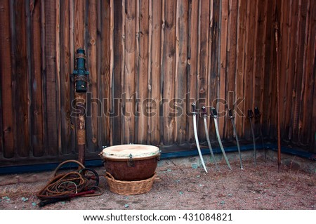 old cannon cold steel sword - stock photo
