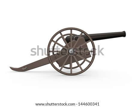 Old Cannon Isolated - stock photo