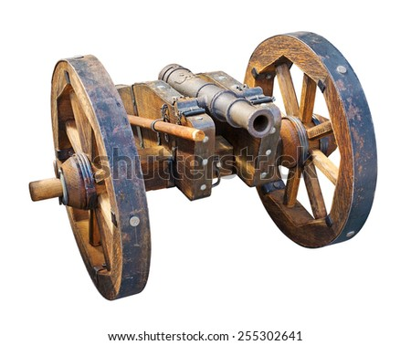 Old cannon isolated on white. Clipping path included. - stock photo