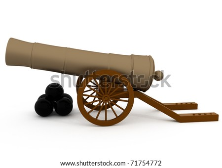 Old Cannon Isolated on White - 3d illustration - stock photo