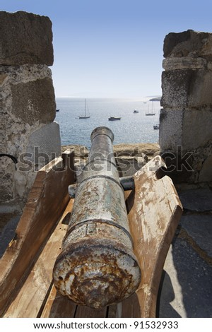 old cannon on the fortress resort in Bodrum Turkey - stock photo