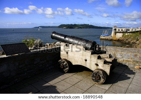 old cannon on the rampart, Plymouth, UK - stock photo