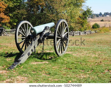old cannon sits on the battlefield in Gettysburg Pennsylvania