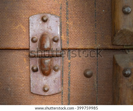 Old canvas trunk hinge close up, vintage - stock photo