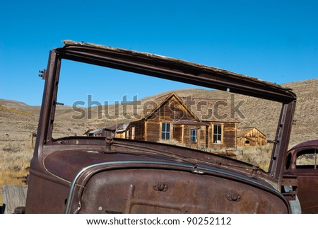 Old Car at Bodie Historic State Park,  an Old West Ghost Town - stock photo