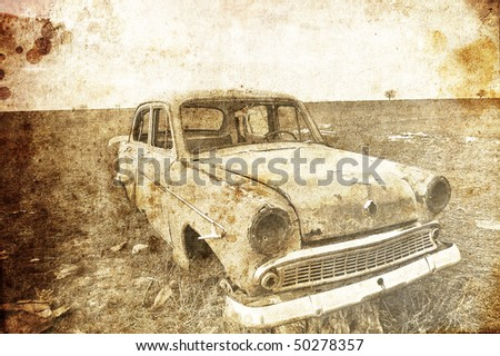 Old car at field. Photo in old image style. - stock photo
