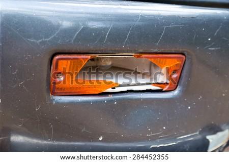 Old car crash, Broken the rear lights - stock photo