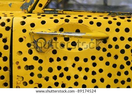 Old car door handle - stock photo