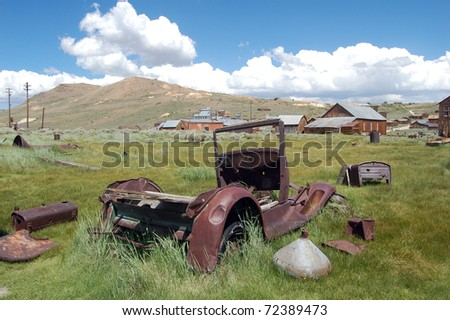 old car in bodie ghost town, california - stock photo