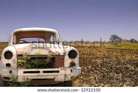 Old Car In The Empty Land