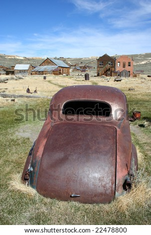Old car in the ghost town of Bodie, California - stock photo