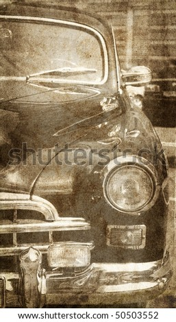 Old car outside. Photo in vintage image style.