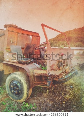 Old Car rusting - grunge style - stock photo