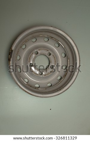 old car wheels on isolated background
