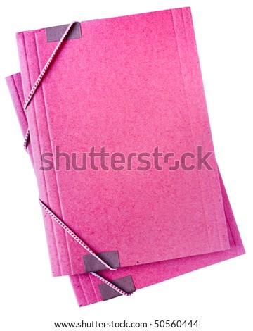 old cardboard folders isolated on white, pink empty cover, blank space, archive files, storage documents - stock photo