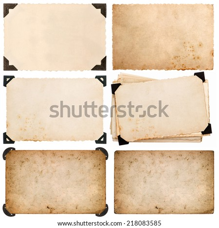 old cardboard with corner, photo card, aged paper isolated on white background - stock photo