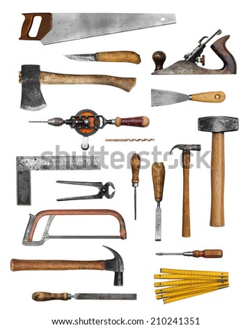 Old carpenter hand tools set collection isolated on white - stock photo