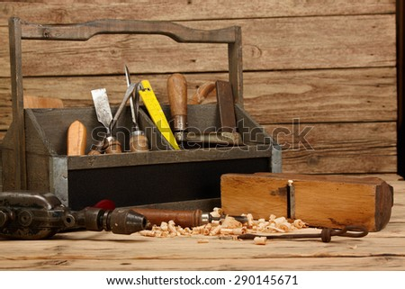 Old carpenter tools - stock photo