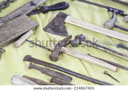Old carpenter tools hammer and chisels woodworking - stock photo