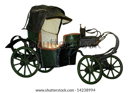 Old carriage on white background
