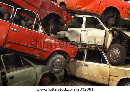 Old cars  for recycling in junkyard - stock photo
