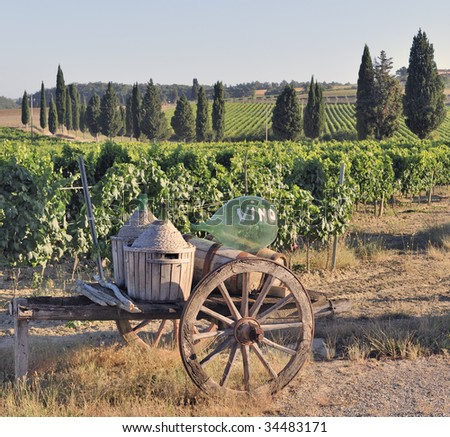 Old cart and wine flasks in front of vineyard in Tuscany, Italy - stock photo
