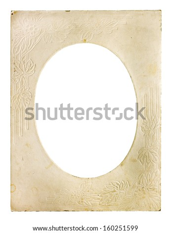 Old carton photo frame isolated on white - stock photo