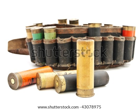 old cartridge for hunting rifle against white background - stock photo