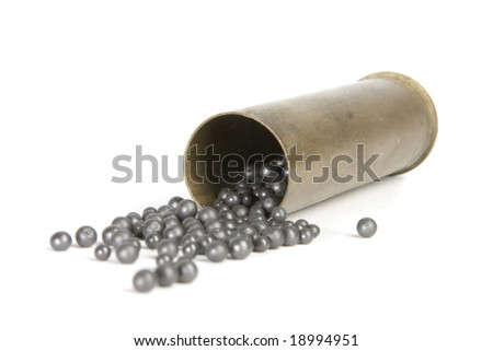 old cartridge for shotgun with shots - stock photo