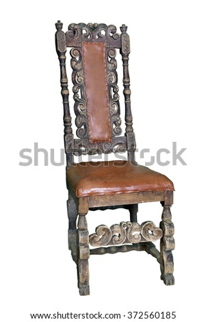 Old carved chair (From time Russian emperor Peter the Great, XVIII century). Interesting craftsmanship example of Russian engravers on wood.