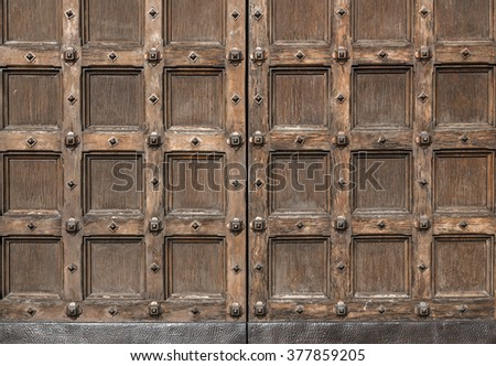 Old carved entrance door to Cathedral