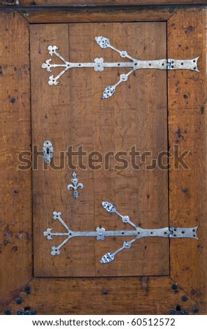 Old carved oak door. A close up - stock photo
