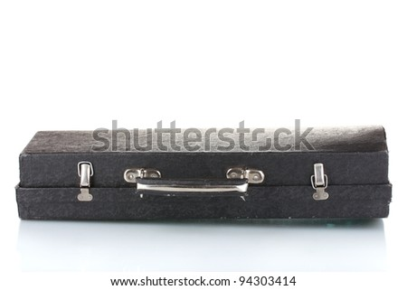 old case for musical instrument isolated on white - stock photo