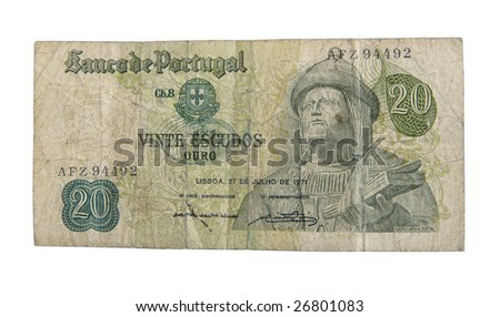 Old cash money from Portugal isolated on white. - stock photo