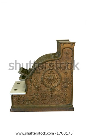 Old cash register against white - stock photo