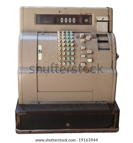Old Cash Register isolated with clipping path - stock photo