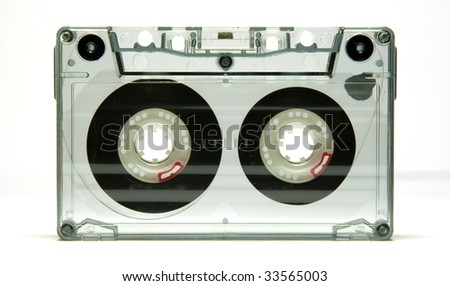 Old cassette tape isolated over a white background