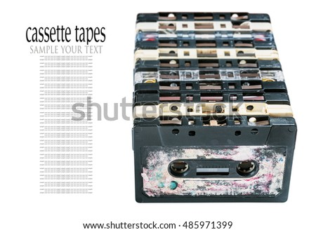 Old Cassette tapes isolated on white background. delete text