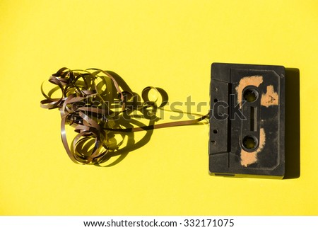 Old cassette tapes on  background - stock photo