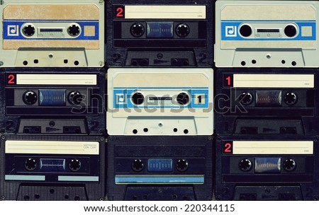 Old cassettes - stock photo