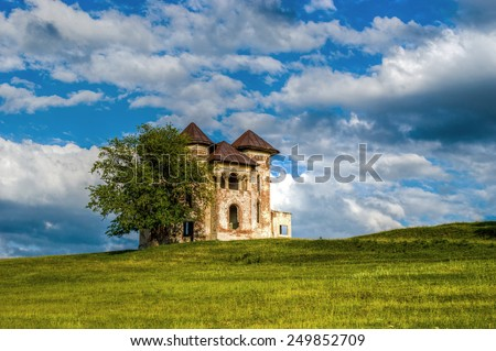 Old Castle abandonned haunted - stock photo