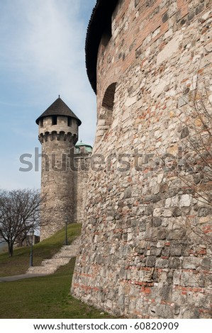 old castle and its massive fortification - stock photo