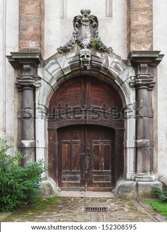 old castle door - stock photo