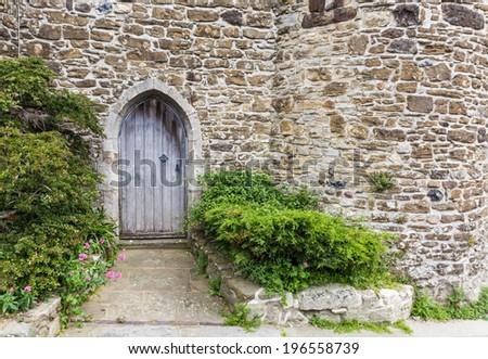 Old castle door seen in Rye, Kent, UK. - stock photo