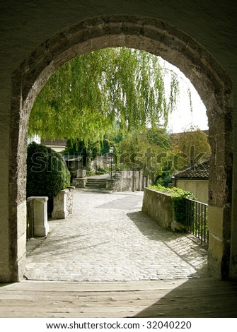 Old castle gate - stock photo