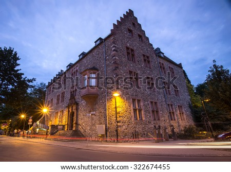 old castle giessen germany in the evening