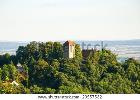 Old Castle in a Forest on the Hill - stock photo