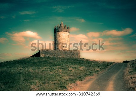 Old castle in Doolin Ireland with fantasy effect - stock photo